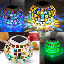 Solar Powered Mosaic Glass Ball Garden Lights Color Changing Solar Table  Lamp