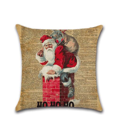 Vintage Noël en coton imprimé Lin Housse de coussin taie d/'oreiller Home Decor
