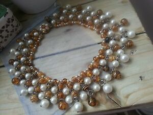 1950-039-s-Faux-Pearl-amp-Tigers-Eye-Glass-Bead-Collar-Style-Statement-Necklace