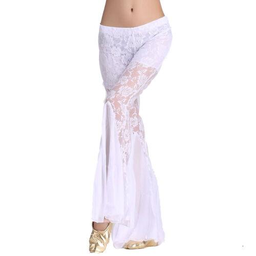 Women Belly Dance Pants Lace Fishtail Flared Trousers Dancewear Ballroom Bottoms