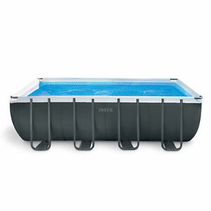 Intex Ultra 18 Foot XTR Rectangular Metal Frame Swimming Pool Set w/ Pump Filter