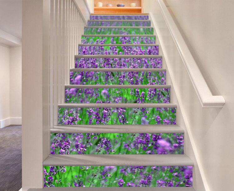 3D Lila Blüten 455 Stair Risers Dekoration Fototapete Vinyl Aufkleber Tapete DE
