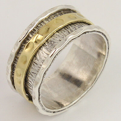 TWO TONE Spinner 925 Sterling Silver Jewelry 10 mm Wide Band Nice Ring Size US 8