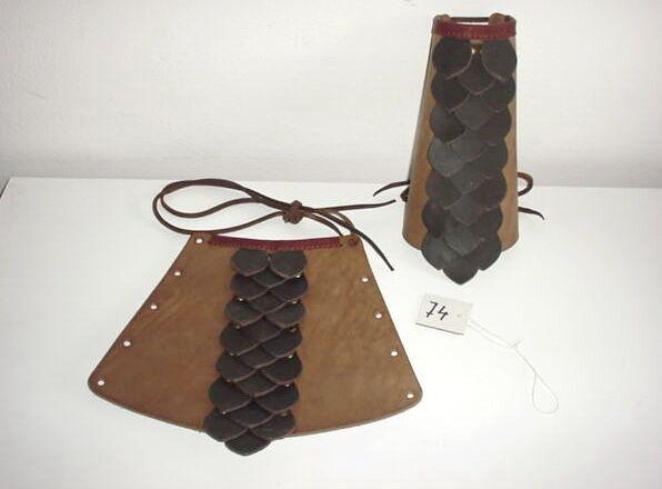 Leather Renaissance Medieval SCA LARP CELTIC ARM BRACERS CUFFS DRAGON SCALES #74