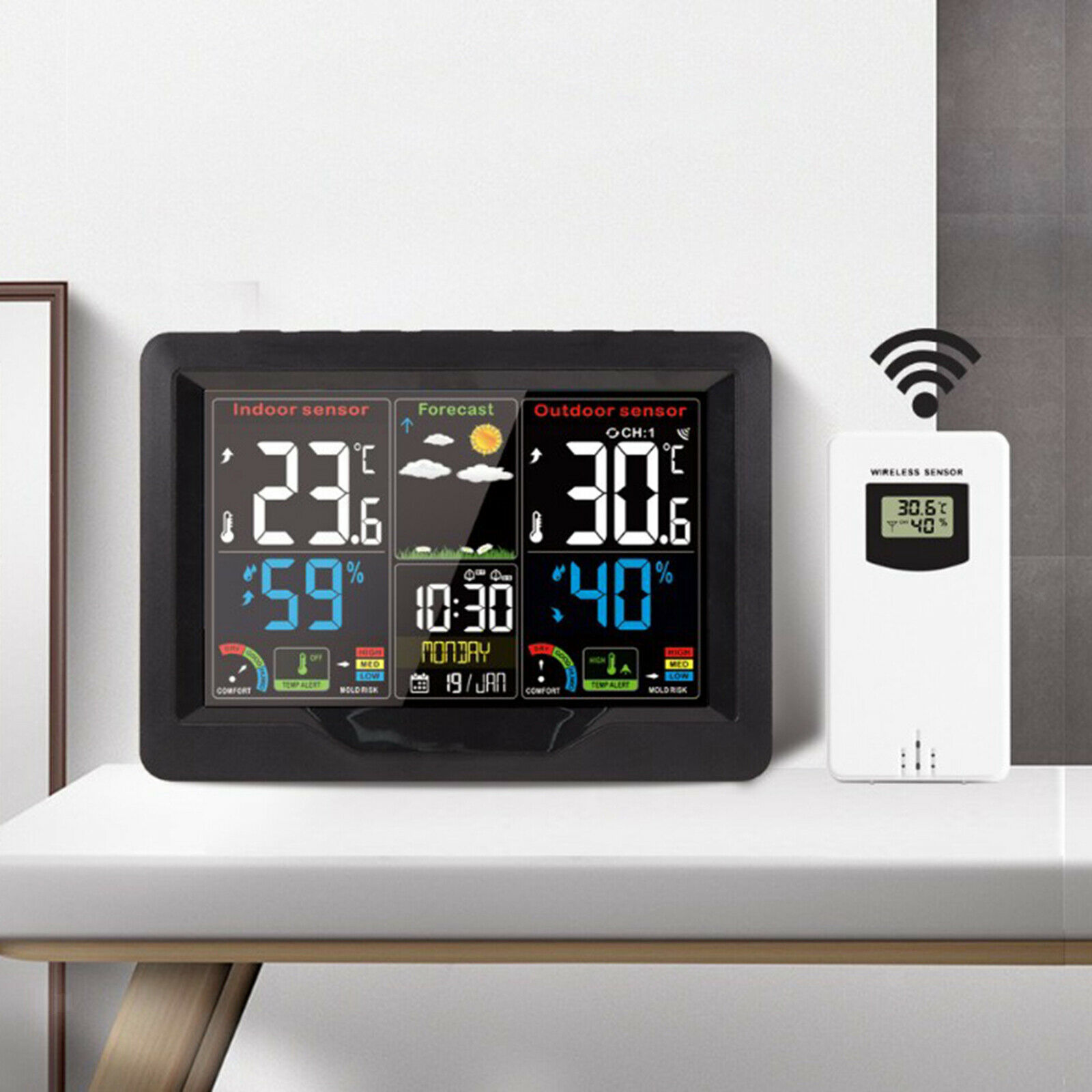 Digital LCD Weather Station Wireless Indoor Temperature Humidity Clock