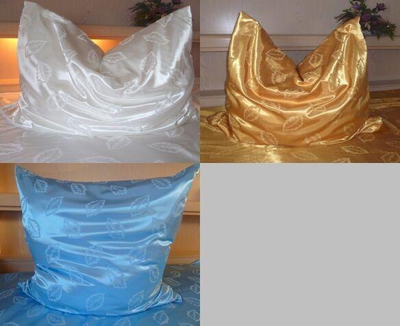 Bettwäsche Satin Glanzsatin Polyestersatin Weiß Gold Blau Größe 135x200 cm