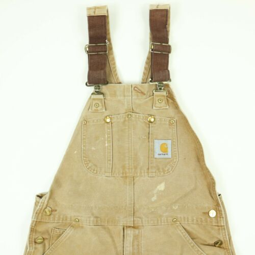 Carhartt Double Knee Faded Canvas Overall Bibs Wor