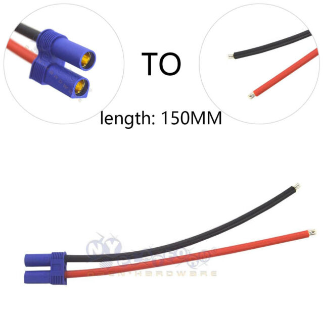 1 PCS EC5 Female Plug Adapter 15cm Wiring Cable 12AWG Wire for RC Hobby