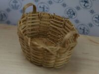 Wicker Basket Oval Shaped With Handles, Miniature, Dolls House Accessory
