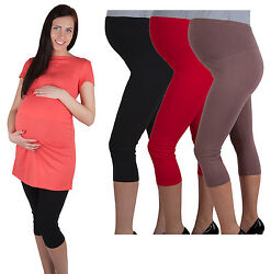 UmstandsLeggings für Schwangere Mama Schwangerschaft Capri 3/4 Hose Leggings