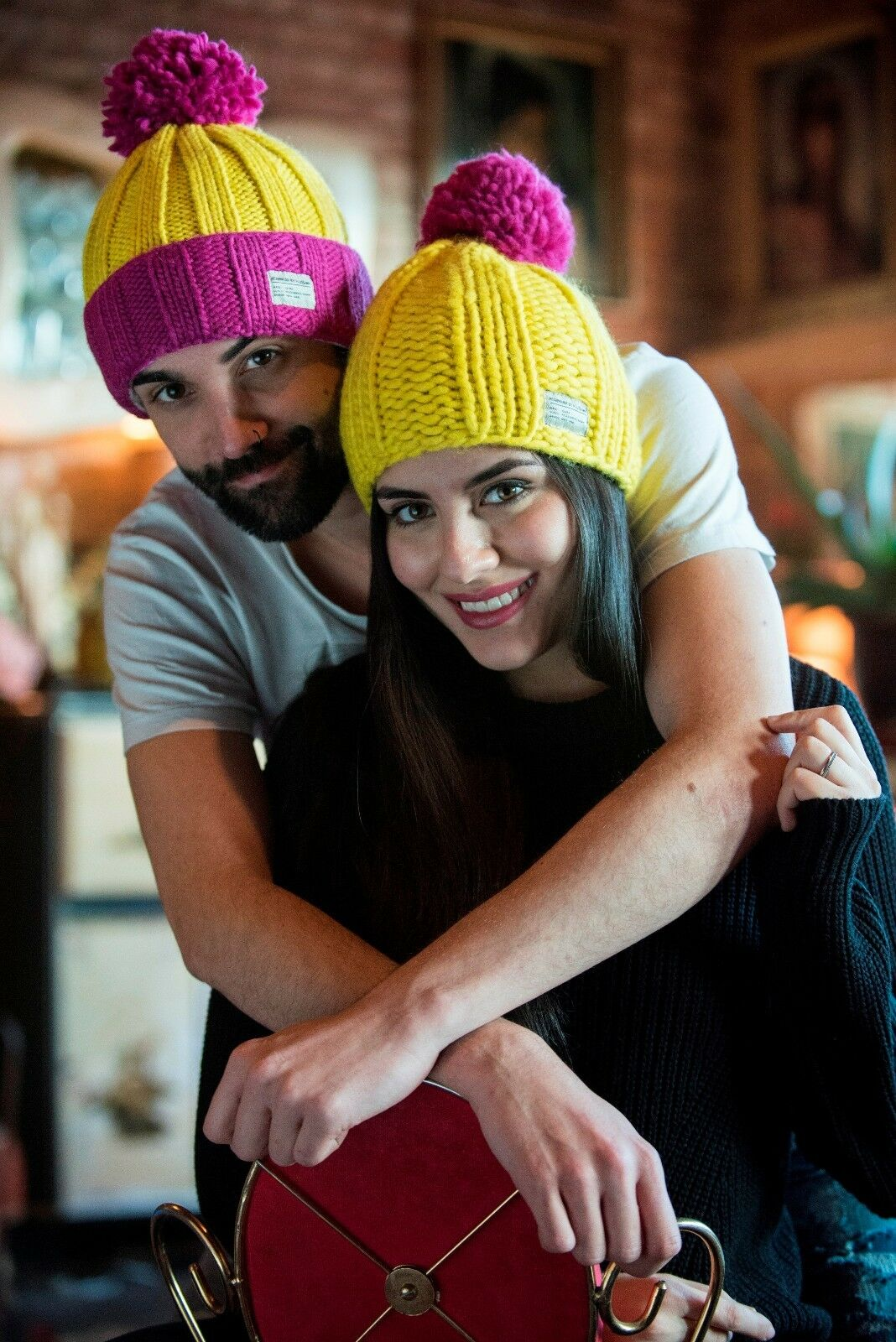 85408ea2 KuSan Bobble Hat - Yellow with Pink Turn Up and Bobble - Brain Tumour  Research