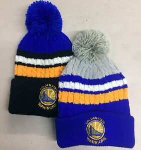 Golden-State-Warriors-Pom-Pom-Beanie-SF-Skull-Cap-Hat-Embroidered-GS