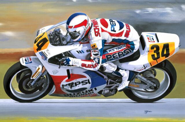 Kevin Schwantz Suzuki RGV 500 Motorbike Motorcycle Racing Art Painting Print