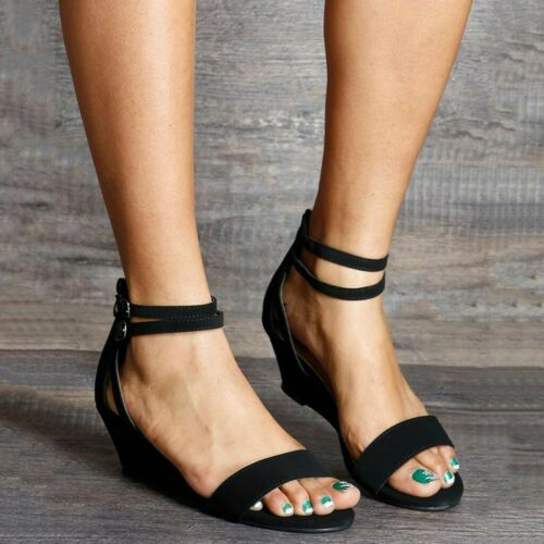 Womens Casual Trim Wedge Zipper Buckle Ankle Strap Open Toe Sandals Summer Shoes