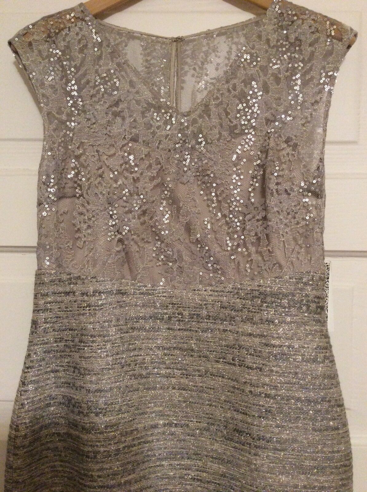 baccba25b82 Kay Unger Lace and Tweed Sheath Dress With Sequins Silver Metallic ...
