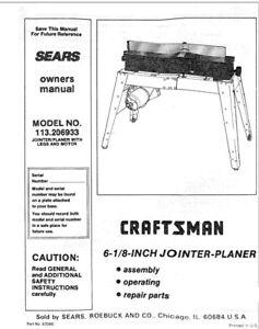 craftsman 113 206933 jointer planer owners instruction manual ebay rh ebay com sears jointer manual craftsman jointer 113 manual