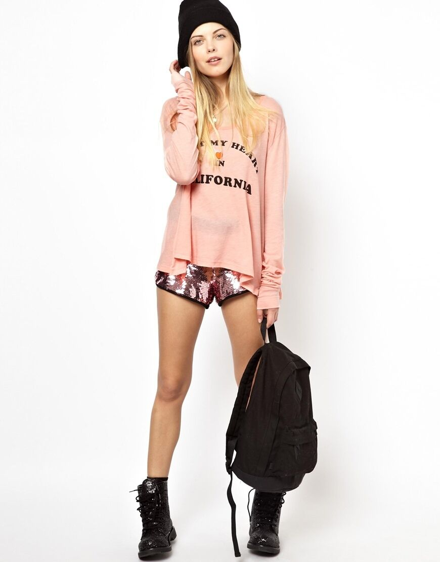 WILDFOX I LEFT MY HEART IN CALIFORNIA CORAL LONG SLEEVE TEE TSHIRT TOP M 12 8 40