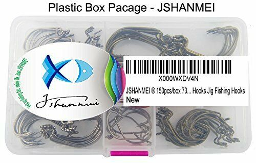 Lot 7316 2X Worm Jig Fishing Hooks High Carbon Steel Black Offset Fishhooks Set