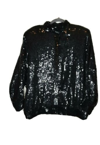 Size Small Judith Ann Creations sequin beaded jacket Black white Fit /& Flare
