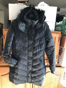 f58dd4ac2 Details about Abercrombie & Fitch Womens Hooded Puffer Quilted Nylon Parka  Jacket Black SZ S