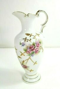 Vintage-Porcelain-Rose-Floral-Vase-Ewer-Gold-Raised-Leaf-Design-Arrow-Mark-7491