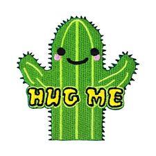 "Friendly Cactus ""HUG ME"" Patch Cute & Funny DIY Craft Apparel Iron-On Applique"