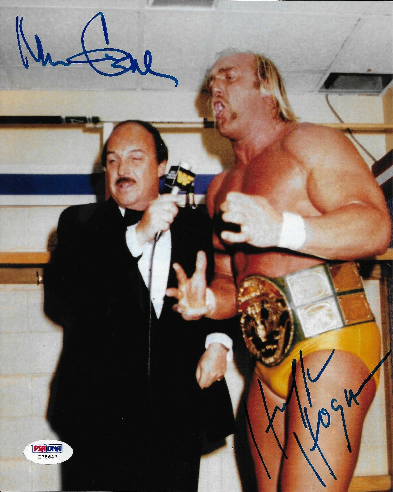 Hulk Hogan & Mean Gene Okerlund Signé Wwe 8x10 Photo PSA   DNA COA Auto 'D Image