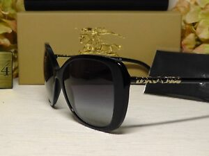 9a17bdeea1b3 BURBERRY B4238 Shiny Black   Gold Frame Sunglasses 57 17 140     NIB ...