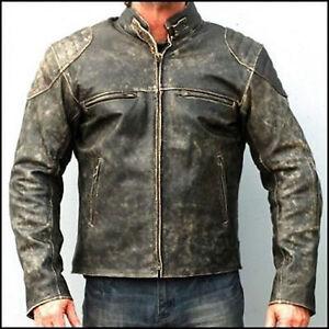 Moto-Chaqueta-De-Cuero-Envejecido-Hooligan-Para-Hombre-Biker-Casual-Moda-Vintage
