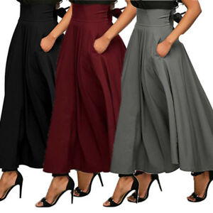 Women-High-Waist-Flared-Pleated-Long-Dress-Gypsy-Maxi-Skirt-Pockets-5-Sizes