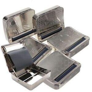 Automatic Cigarette Rolling Machine Tobacco Storage Silver Metal Box Tin Roll Up