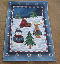 Christmas Fun Bear Snowman Moose Crafters Tapestry Wall Hanging Fabric Remnant