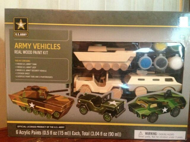 MasterPieces Real Wood Paint Kit of U s  Army Vehicles