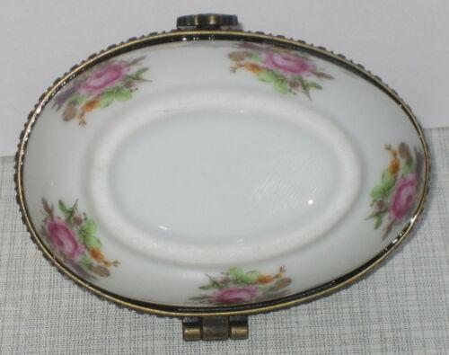 Porzellandose Ei für Parfüm Flakon Miniatur Deckeldose Porzellan mit Rosendekor