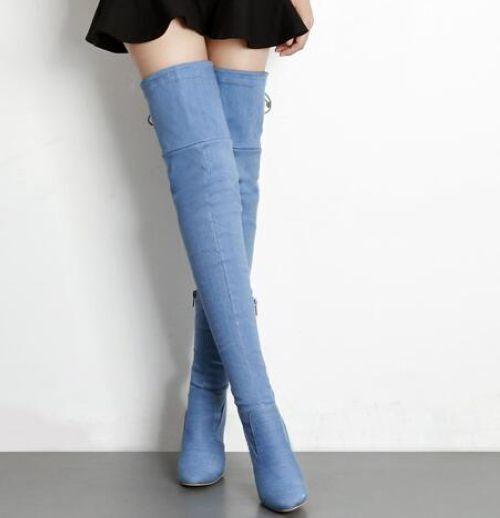 stiefel blau weich up knie schenkel absatz 10.5 cm komfortabel 9463