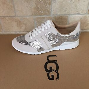 29c3dab5edb Details about UGG JAIDA GLITTER SILVER LEATHER SUEDE LACE UP SNEAKERS SHOES  SIZE US 11 WOMENS