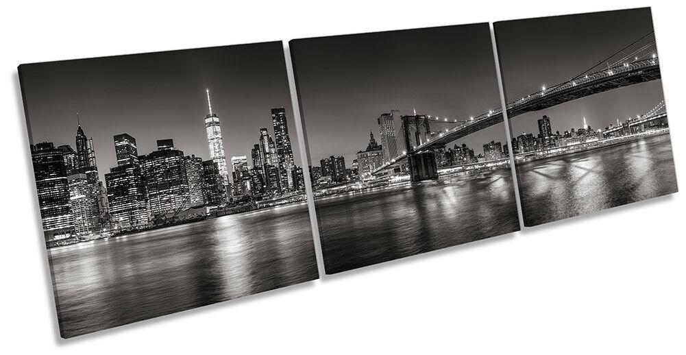 Negro y Blanco de la la de ciudad de Nueva York imagen LONA pared arte impresión Triple 049560