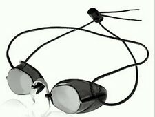 Metallic Swedish Swim Goggles w/ Bungee Strap - Silver Mirror/Smoke Lens