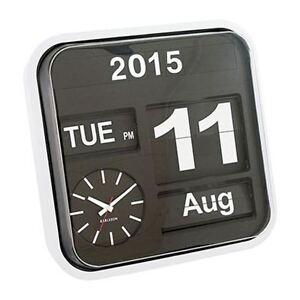 Karlsson Uhren karlsson groß kippen retro wanduhr weiß kalender stilvoll designer