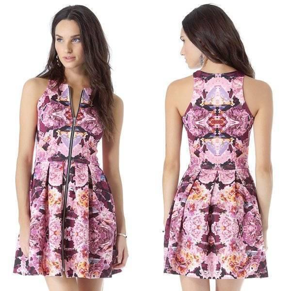 Brand New NICHOLAS  pink Reflect Floral Scuba Dress - Size 8 -