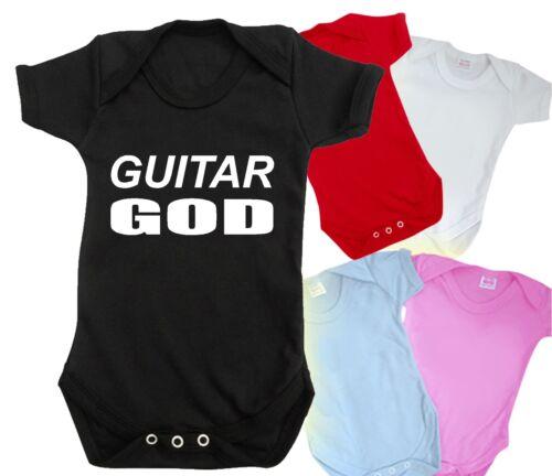 GUITAR GOD funny baby grow bodysuit CUTE rock band metal bass t shirt BNWT top