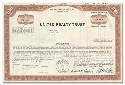 Riverside Real Estate Investment Trust /> 1972 Chicago Illinois stock certificate