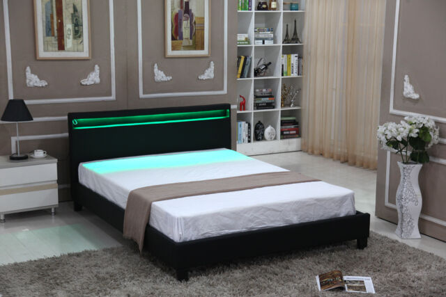 Full Size Bedroom Leather Platform Slat Bed Frame Headboard LED Light Black  New
