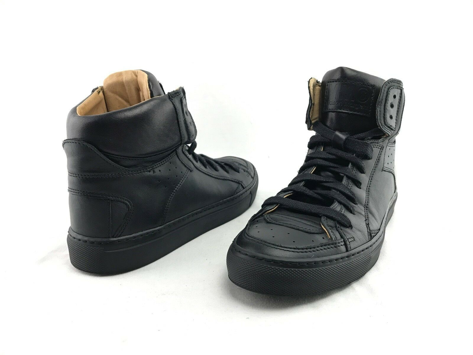 MM6 MARGIELA KC Black Black Black Leather Perforated High Top Lace Up Sneakers EUR 38  A414 e06142