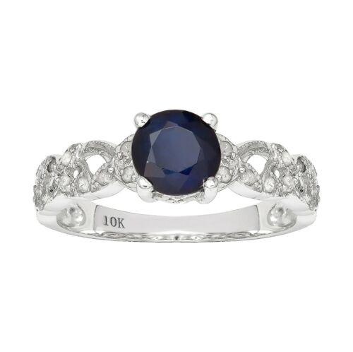 10k or Blanc Style Vintage Véritable Rond Saphir et Diamant Filigrane Bague