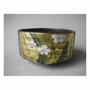 Giapponese-Matcha-Te-Ciotola-Oro-Foglia-Plum-Fioritura-Kutani-Porcellana-Tracker