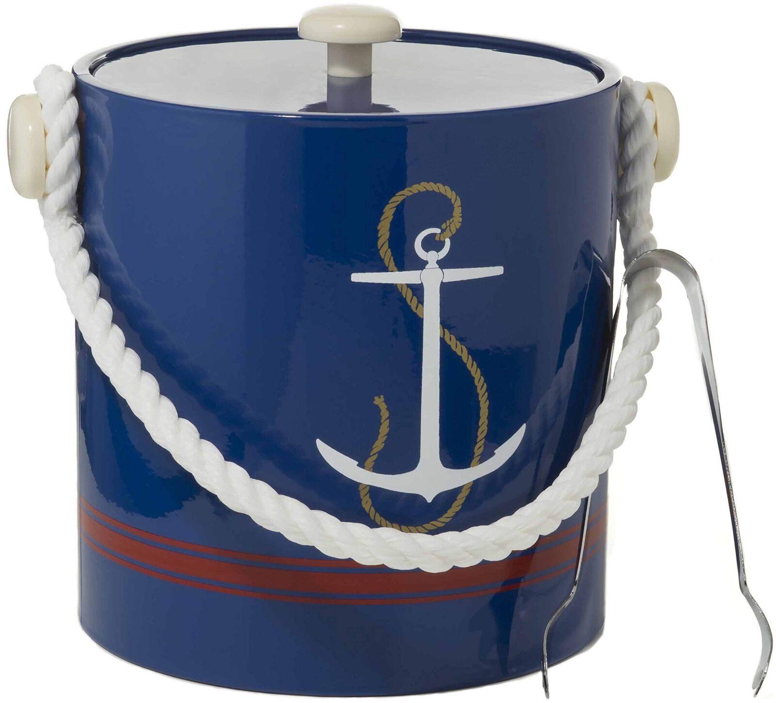 Hand Made in USA Bleu Marine Ancre avec corde poignée double paroi 3 Litre Seau à glace