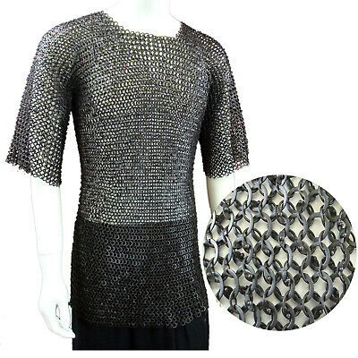 Black Flat Riveted Flat Washer Chain Mail Shirt XL Chainmail Haubergeon Costume