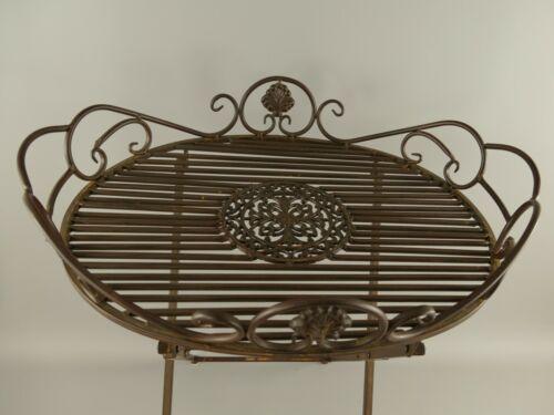 Metalltisch Gartentisch Beistelltisch 63x48cm rustikal Antikstil Eisen Rostfarb.