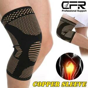 2-Knee-Sleeve-Compression-Brace-Support-Sport-Joint-Injury-Pain-Arthritis-Copper